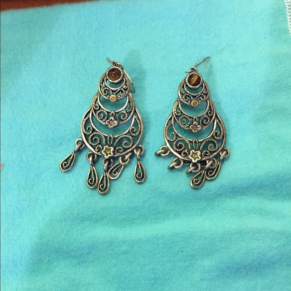 Jewelry - Silver and crystal earrings.  Adorable
